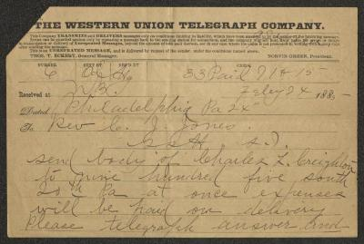 The first page of the telegram is the front of the Western Union Telegraph Company telegram form, pre-printed on brown paper and filled in by hand in black ink.