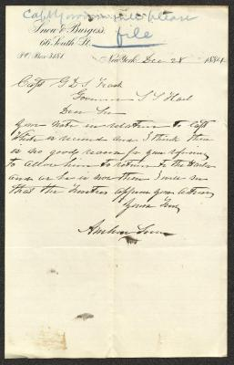The letter is handwritten in dark brown ink on Snow & Burgess letterhead, which is on cream-colored paper with blue lines below the header. It has been folded several times and a fold divides the sheet in half vertically. There is a notation in blue pencil at the top of the page.