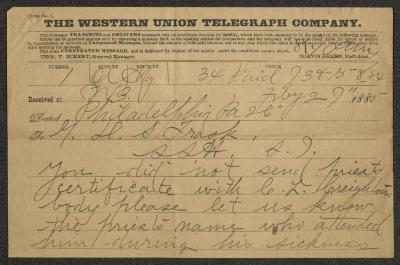 The telegram is on a Western Union Telegraph Company telegram form, pre-printed on brown paper and filled in by hand in black ink.