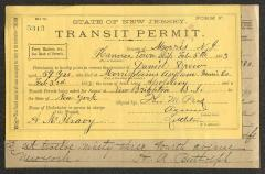 Documents relating to the death and postmortem transit arrangements for Daniel Drew, February 5, 1883