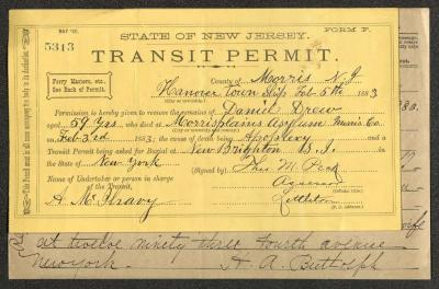 State of New Jersey transit permit form pre-printed on yellow paper, filled in by hand in black ink.