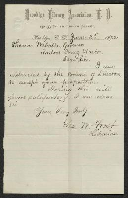 The letter is handwritten with dark brown ink on Brooklyn Library Association letterhead, which is on cream-colored paper with faint blue lines below the header. The sheet has been folded several times and has a distinct vertical fold dividing the paper in half.