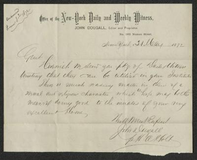 The letter is handwritten with dark brown ink on New York Daily and Weekly Witness letterhead, which is on cream-colored paper. The sheet has been folded several times horizontally. There is an annotation in the upper left corner stating when the letter was replied to.