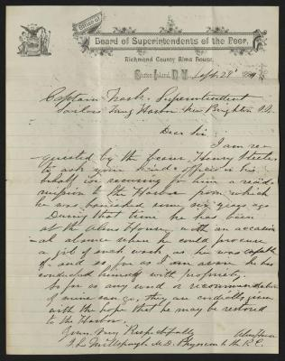 The letter is handwritten in brown ink on Board of Superintendents of the Poor letterhead, which is printed on cream-colored paper. The sheet has been folded several times.