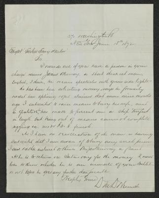 The letter is handwritten in brown ink on cream-colored paper with faint blue lines. It has been folded several times horizontally.