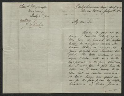 The letter is handwritten in brown ink on cream-colored paper. It has been folded in half; on the right half of this side of the paper is the first part of the letter. On the left half is a notation at the upper edge, just to the left of the central vertical fold, with the name of the sender, date, and subject of the inquiry, probably for filing purposes.