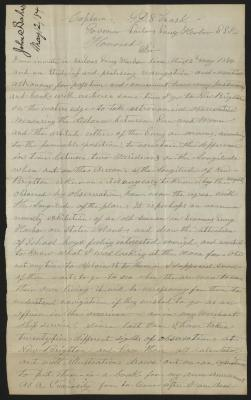 The letter is handwritten in pale brown ink on cream-colored paper. It has been folded several times. In the upper left corner is a notation in black ink with the name of the sender and a date, presumably for filing purposes.