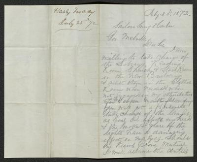 The letter is handwritten in brown ink on cream-colored paper with faint blue lines. It has been folded in half; on the right half of this side of the paper is the first part of the letter. On the left half is a notation in the upper corner with the name of the sender and date, probably for filing purposes.