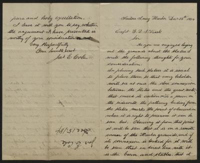 The letter is handwritten in brown ink on cream-colored paper with faint blue lines. It has been folded in half; on the right half of this side of the paper is the first part of the letter. On the left half is the fourth, and final, page of the letter, including the writer's signature. Oriented in the opposite direction from the text is a notation along one edge, to the side of the central fold, with the name of the sender and the date, probably for filing purposes.