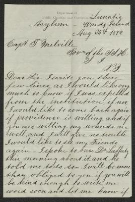 The letter is handwritten in brown ink on cream-colored paper with faint blue lines. It has been folded several times. This is the first page of the letter.