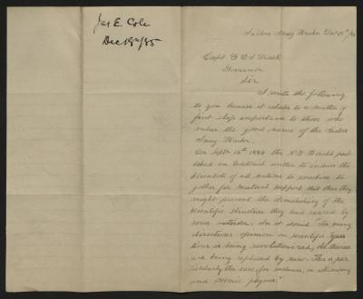The letter is handwritten in pale brown ink on cream-colored paper with blue lines. It has been folded in half; on the right half of this side of the paper is the first part of the letter. On the left half is a notation at the upper edge, just to the left of the central fold, with the name of the sender and the date, probably for filing purposes.
