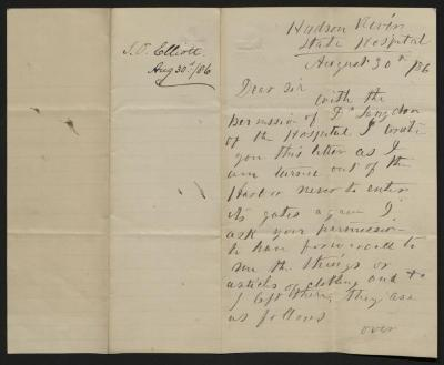 The letter is handwritten in brayish-black ink on cream-colored paper with blue lines. It has been folded in half; on the right half of this side of the paper is the first part of the letter. On the left half is a notation at the upper edge, just to the left of the central fold, with the name of the sender and the date, probably for filing purposes.