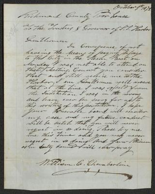 The letter is handwritten in brown ink on light blue-colored paper with faint red lines. It has been folded several times.