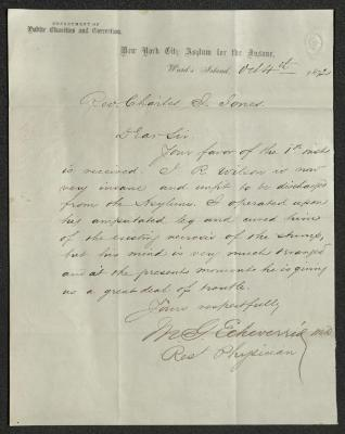 The letter is handwritten with dark brown ink on New York City Asylum for the Insane letterhead, which is on cream-colored paper with faint blue lines below the header. The sheet has been folded several times