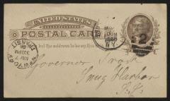 Postcard to Captain Gustavus D. S. Trask, Governor of Sailors' Snug Harbor, from Jacob Stream, Inmate, Sailors' Snug Harbor, May 5, 1886