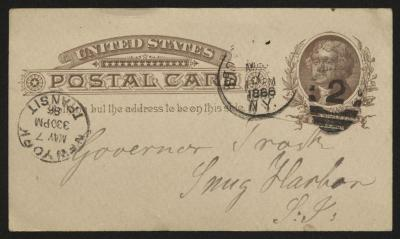 The postcard is handwritten in faded grayish-brown ink on a pre-printed United States Postal Card. The front of the card has two postmarks.