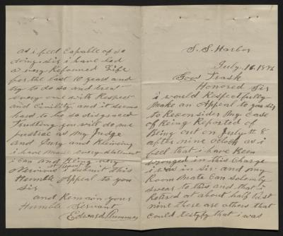 The letter is handwritten in brown ink on cream-colored paper. It has been folded in half; on the right half of this side of the paper is the first part of the letter. On the left half is the fourth and final page of the letter..