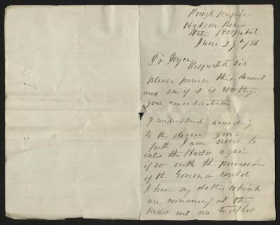 The letter is handwritten in brown ink on cream-colored paper with faint blue lines. It has been folded in half; on the right half of this side of the paper is the first part of the letter. The left half is blank.