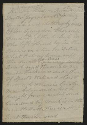 The letter is handwritten in pencil on cream-colored paper. It has been folded several times.