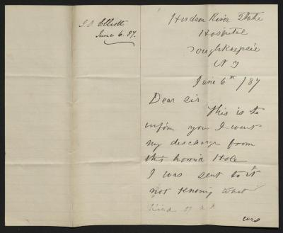 The letter is handwritten in black ink on cream-colored paper with blue lines. It has been folded in half; on the right half of this side of the paper is the first part of the letter. On the left half is a notation at the upper edge, just to the left of the central fold, with the name of the sender and the date, probably for filing purposes.