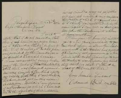 The letter is handwritten in dark gray ink on cream-colored paper with blue lines. It has been folded in half; on the left half is the first page of the letter and on the right half is the second page of the letter.