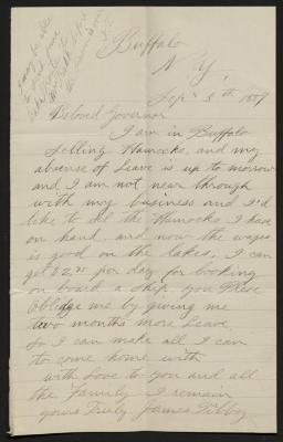 The letter is handwritten in light brownish-gray ink on cream-colored paper with faint blue lines. It has been folded several times and a prominent fold divides the sheet in half vertically.