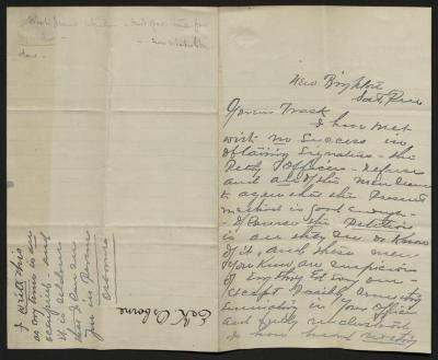 The letter is handwritten in gray ink on cream-colored paper with blue lines. It has been folded in half; on the right half of this side of the paper is the first part of the letter. On the left half is a pencil note at the upper edge, just to the left of the central fold, with a few words of a drafted reply. In the lower left corner, perpendicular to the letter's text, is an additional note by Osborne, and in the opposite direction of the letter's text is a notation with the name of the sender, probably for filing purposes.