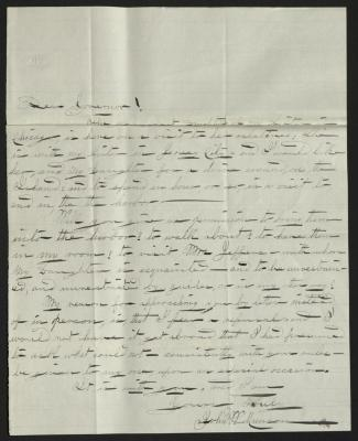 The letter is handwritten in dark gray ink on cream-colored paper with faint blue lines. It has been folded several times and is very creased.
