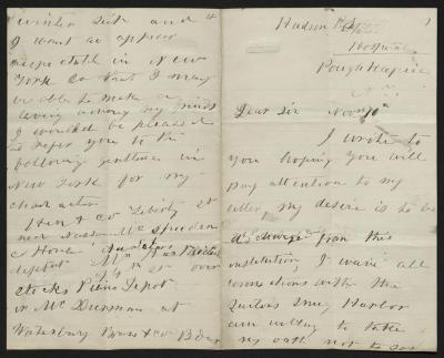 The letter is handwritten in dark gray ink on cream-colored paper with blue lines. It has been folded in half; on the right half of this side of the paper is the first part of the letter. On the left half is the fourth page.