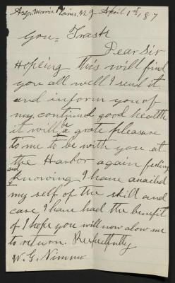 The letter is handwritten in brown ink on cream-colored paper with faint blue lines. It has been folded several times and a prominent fold divides the sheet in half vertically.