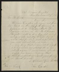Letter to Captain Gustavus D. S. Trask, Governor of Sailors' Snug Harbor, from Thomas Cardin, former inmate, Sailors' Snug Harbor, November 7, 1886