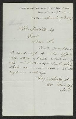 The letter is handwritten with dark brown ink on Office of the Trustees of Sailors' Snug Harbor letterhead, which is on cream-colored paper with blue lines below the header. The sheet has been folded several times.