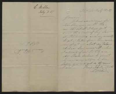 The letter is handwritten in grayish-blue ink on cream-colored paper with blue lines. It has been folded in half; on the right half of this side of the paper is the first part of the letter. On the left half is a notation at the upper edge, just to the left of the central fold, with the name of the sender and the date, probably for filing purposes.