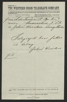 The letter is handwritten with dark brown ink on Western Union Telegraph Company letterhead, which is on cream-colored paper. It has been folded several times.