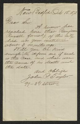 The letter is handwritten in brown ink on cream-colored paper with faint brown lines in a grid pattern. It has been folded several times.