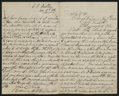 The letter is handwritten in brown ink on cream-colored paper with blue lines. It has been folded in half; on the right half of this side of the paper is the first part of the letter. On the left half is the fourth, and final, page of the letter, including the writer's signature. On the left half is a notation at the upper edge, just to the left of the central fold, with the name of the sender and the date, probably for filing purposes.