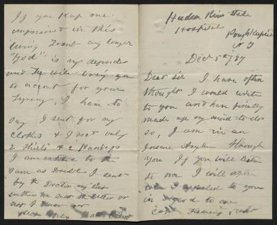 The letter is handwritten in gray ink on cream-colored paper with blue lines. It has been folded in half; on the right half of this side of the paper is the first part of the letter. On the left half is the fourth, and final, page of the letter, including the writer's signature.