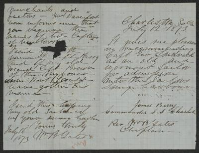 The letter is handwritten in brown ink on light blue-colored paper with faint blue lines in a grid pattern. It has been folded in half; on the right half of this side of the paper is the first and only page of the Berry letter. On the left half is the second and final page of the Gates letter, including the writer's signature. There is a hole in the middle of the left half, presumably from tearing.