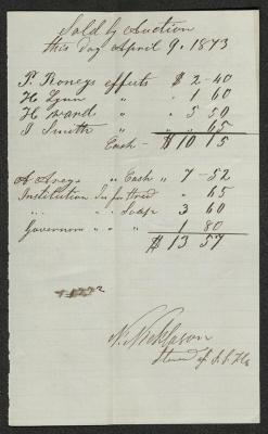The receipt is handwritten in dark brown ink on cream-colored paper with faint blue lines. It has been folded several times.
