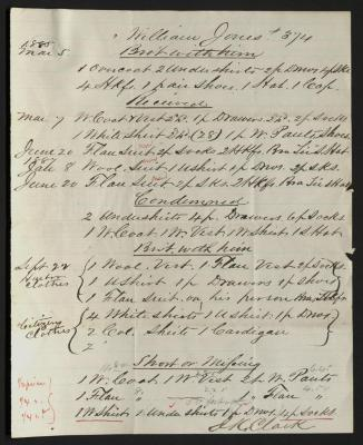 The document is handwritten in brown ink and red ink highlights on cream-colored paper with faint blue lines. It has been folded several times.