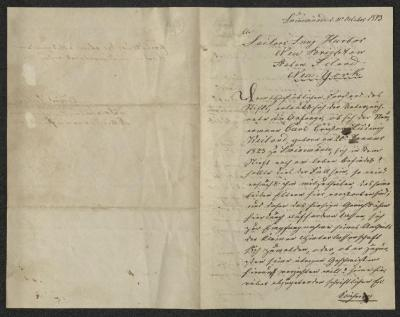 The letter is handwritten in brown ink on cream-colored paper. It has been folded in half; on the right half of this side of the paper is the first part of the letter. The left half is blank.