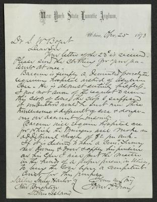 The letter is handwritten with dark brown ink on New York State Lunatic Asylum letterhead, which is on cream-colored paper with blue lines below the header. The sheet has been folded several times.