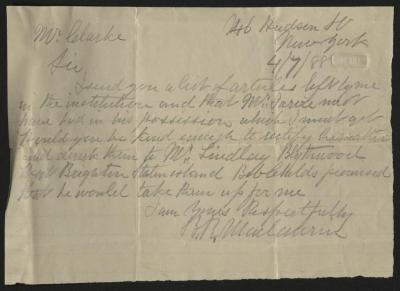 The letter is handwritten in pencil on cream-colored paper with faint blue lines. It has been folded several times.