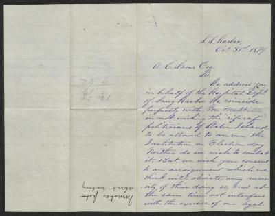 The letter is handwritten in purple ink on cream-colored paper with faint blue lines. It has been folded in half; on the right half of this side of the paper is the first part of the letter. On the left half is a notation at the lower edge, just to the left of the central vertical fold, with the name of the subject of the inquiry, probably for filing purposes.