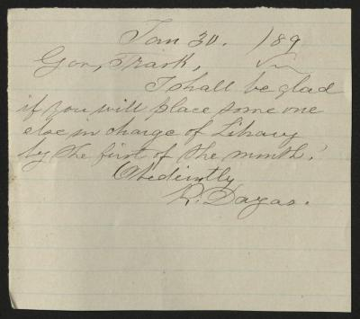 The letter is handwritten in brown ink on a small scrap of cream-colored paper with faint blue lines.