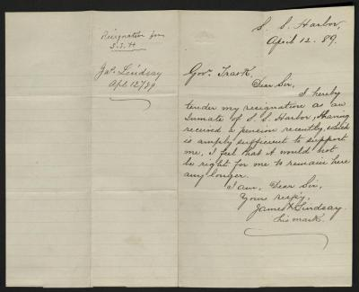 The letter is handwritten in brown ink on cream-colored paper with faint blue lines. It has been folded in half; on the right half of this side of the paper is the letter. On the left half is a notation at the upper edge, just to the left of the central vertical fold, with the name of the sender, date, and subject of the inquiry, probably for filing purposes.
