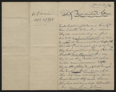 The essay is handwritten in dark gray ink on cream-colored paper with blue lines. It has been folded in half; on the right half of this side of the paper is the first part of the essay. On the left half is a notation at the upper edge, just to the left of the central fold, with the name of the writer and the date, probably for filing purposes.