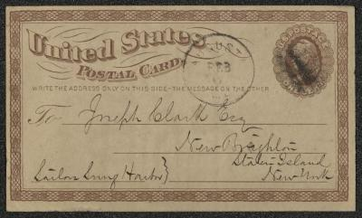 This is United States Postal Card letterhead stamped in red ink on brown-colored paper, with dark-brown ink filling in the name of the addressee and his address. There is a US Postage stamp on the upper right corner for one cent. In the upper center of the page is a stamp in black ink with the location of origin and the date it was sent.