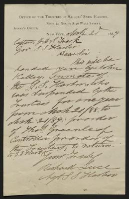 The letter is handwritten in brown ink on Office of the Trustees of Sailors' Snug Harbor letterhead, which is printed on cream-colored paper. The sheet has been folded several times and has a distinct vertical fold dividing the paper in half.