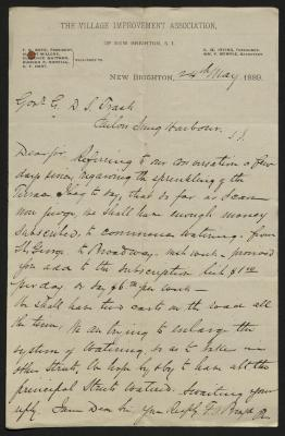The letter is handwritten in brown ink on Village Improvement Association letterhead, which is printed on cream-colored paper. The sheet has been folded several times and has a distinct vertical fold dividing the paper in half.